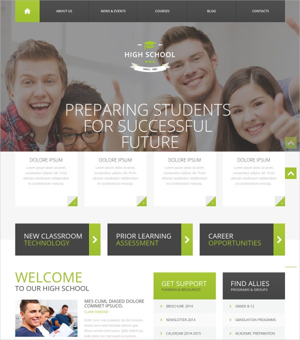 High School WordPress Website Theme $39