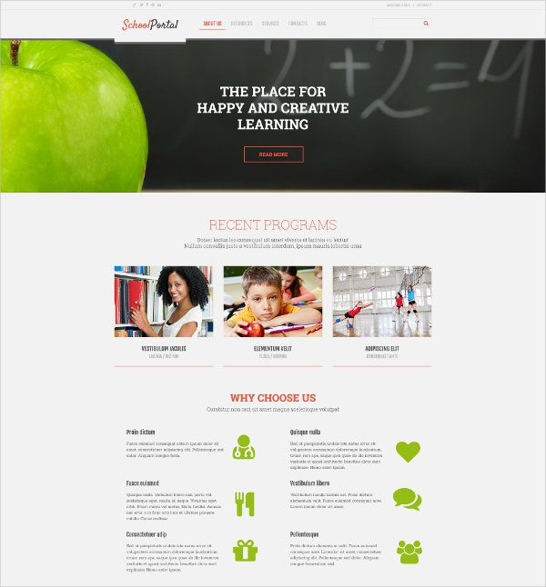 Elementary School Responsive WordPress Website Theme $75