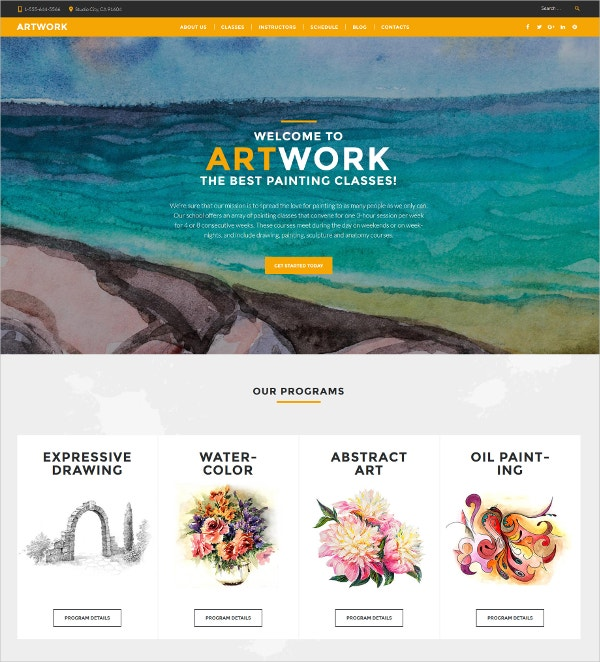 Art School Responsive WordPress Website Theme $75