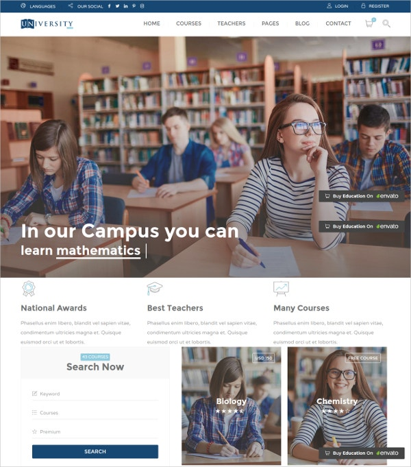 School Education HTML Website Template $17