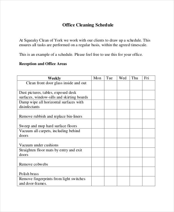 office cleaning roster template