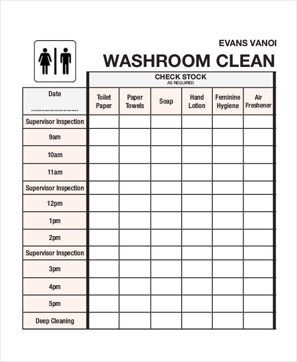 Cleaning Roster Template   Free Word Pdf Documents Download