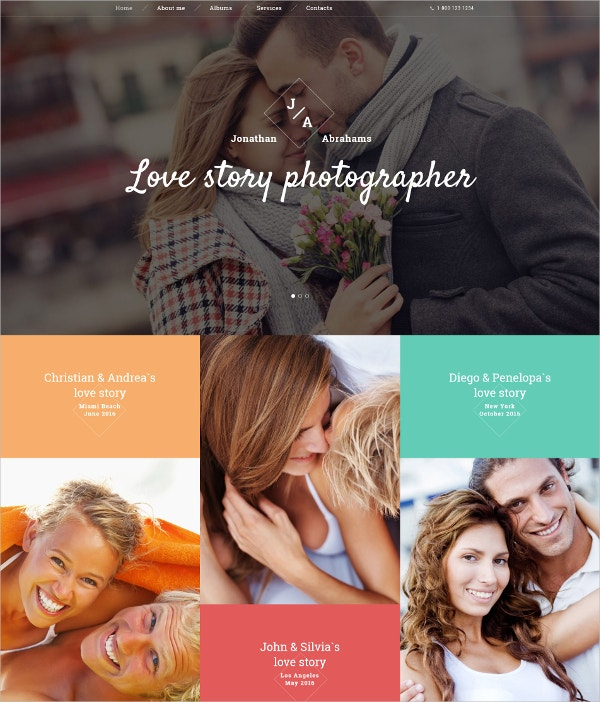 Love Story Photographer Portfolio Website Template $75