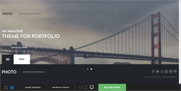 Photo & Architecture WordPress Website Theme $44