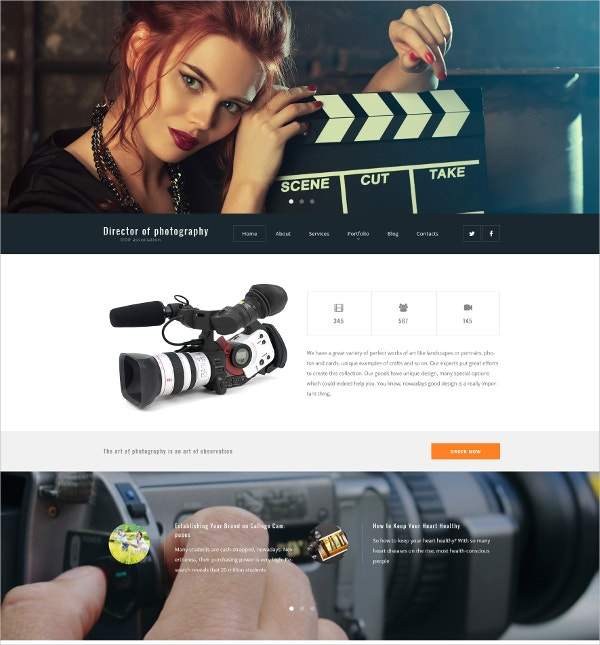Director of Photography WordPress Website Theme $79