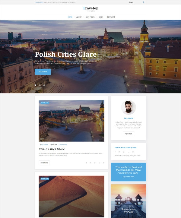 Traveling Photography Blog WordPress Website Theme $45