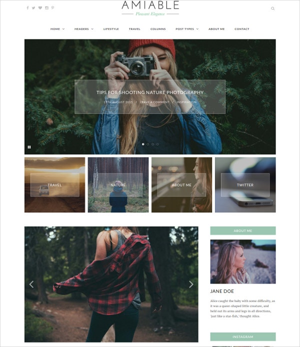 Fashion Photo Blogging Website Theme $34