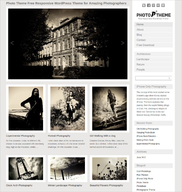 Professional Photographer WordPress Website Theme $39