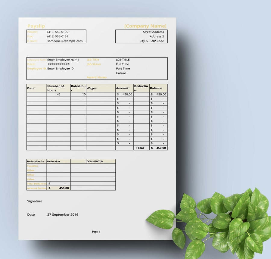 Freebie Of The Day  Payslip Template  Free  Premium Templates