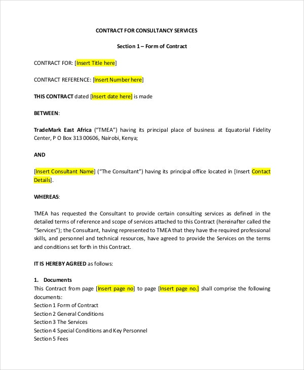 consulting terms and conditions template - contract template 13 free word pdf document downloads