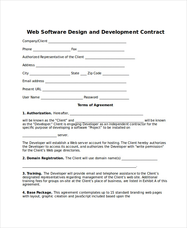 web software design and development contract template