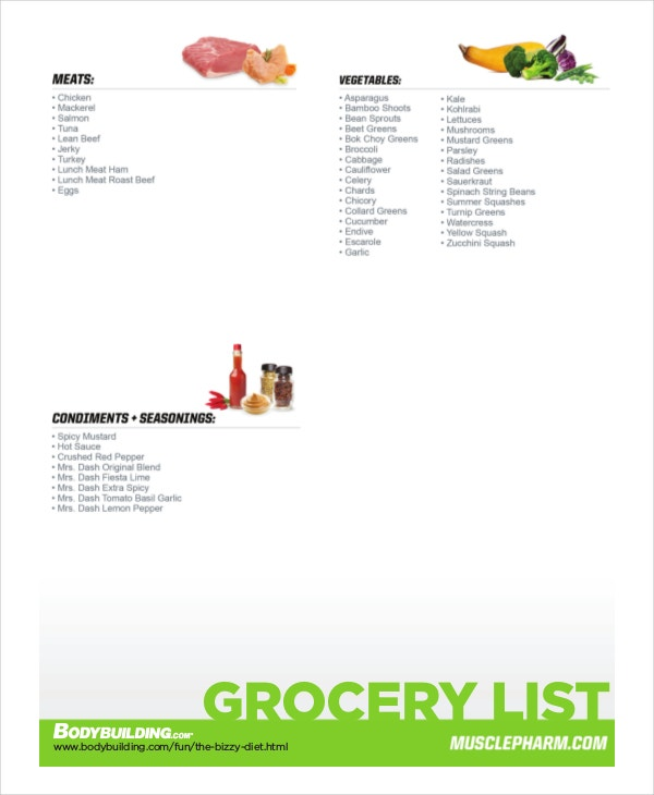 printable diet grocery list template