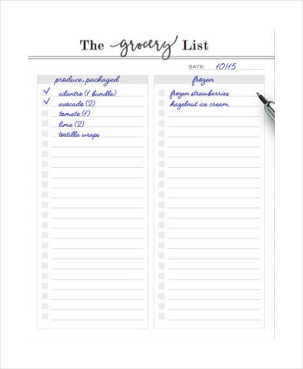 printable grocery list planner