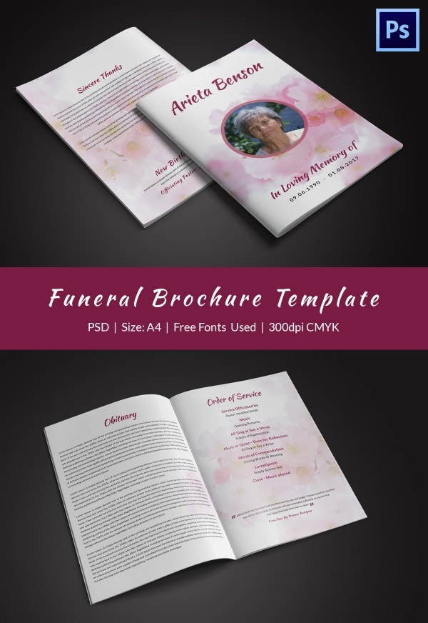 Funeral Bi-fold Brochure for Writing an Obituary