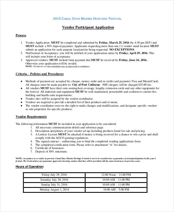 vendor application template