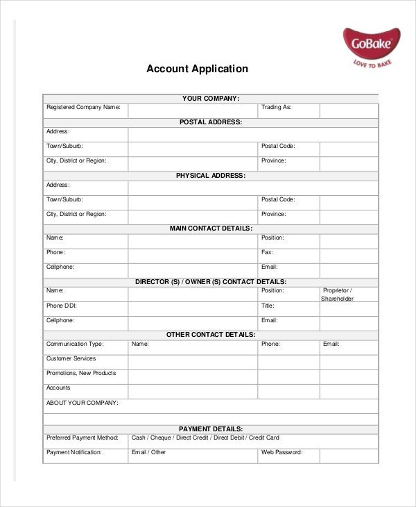 Account Application Template