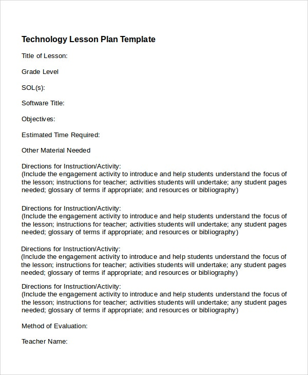 Printable Technology Lesson Plan Template