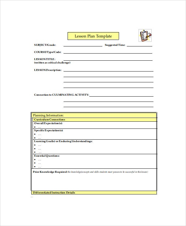 Printable Lesson Plan Free Word PDF Documents Download - Printable lesson plan template