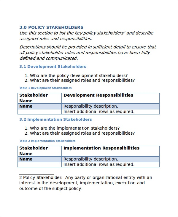 Policy template 10 free word pdf document downloads for It policies templates