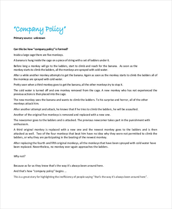 Policy template 10 free word pdf document downloads for Free company policies and procedures template