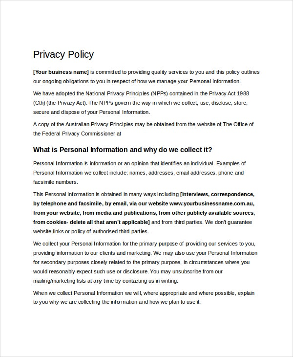 Policy template 10 free word pdf document downloads for Corporate privacy policy template