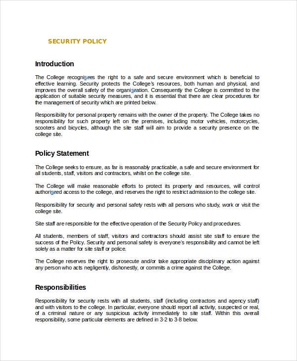 security policy document template - policy template 10 free word pdf document downloads