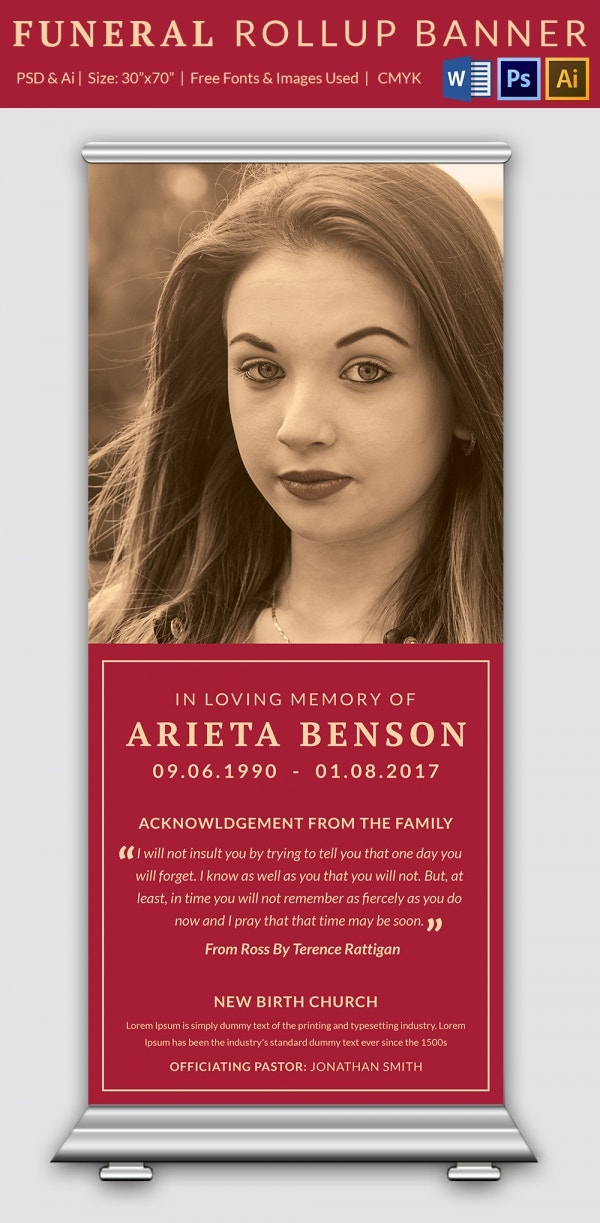 Simple Presentation Of Funeral Rollup Banner  Funeral Poster Templates
