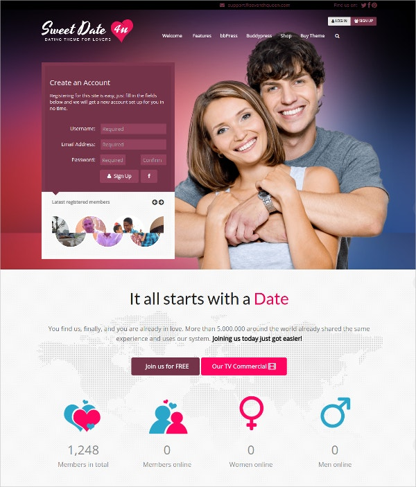 15 dating website themes templates free premium templates. Black Bedroom Furniture Sets. Home Design Ideas