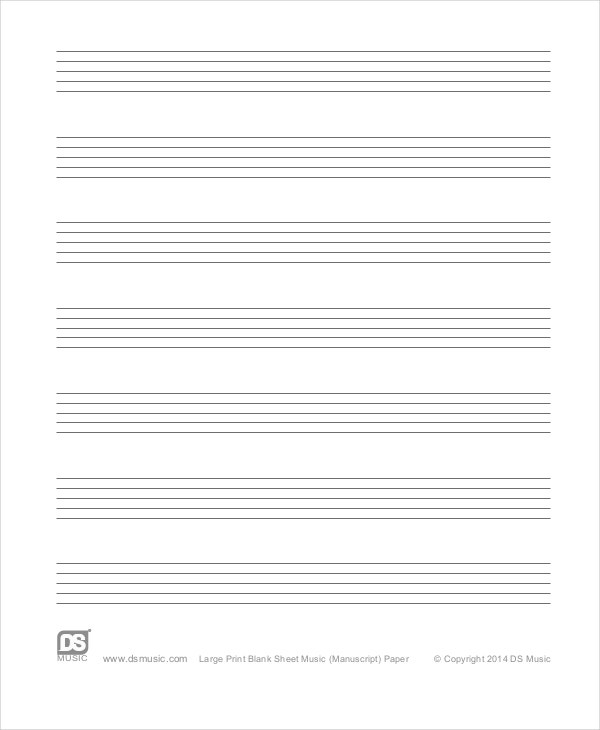 Printable Staff Paper 6 PDF Documents Download – Music Paper Template