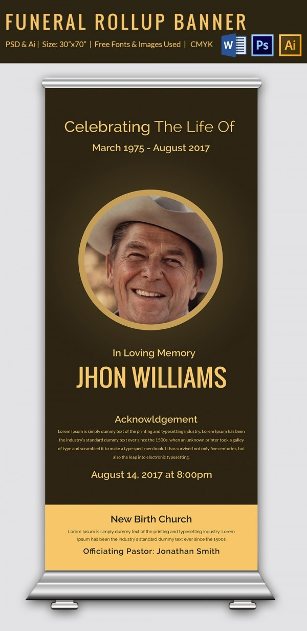Funeral Announcement Roll-up Banner