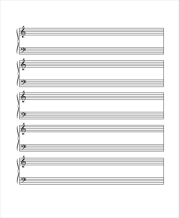 music manuscript template - printable staff paper 6 pdf documents download free