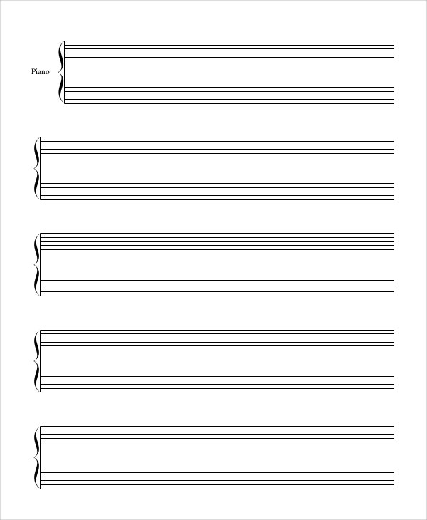 Printable Piano Staff Paper