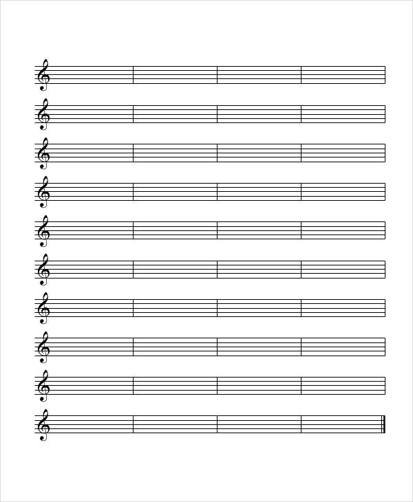 Selective image within printable staff paper with bar lines