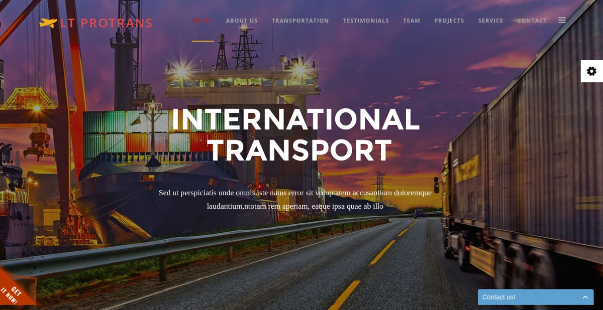 Transportation Single Page Joomla Website Theme