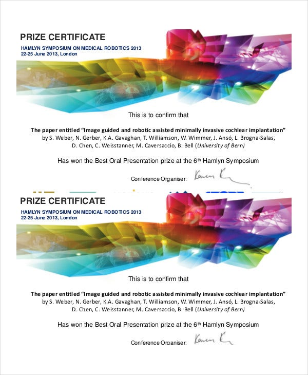 Robotics Prize Certificate Template