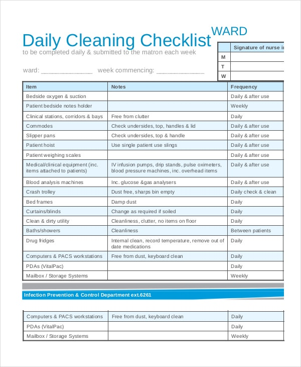 daily ward cleaning checklist download
