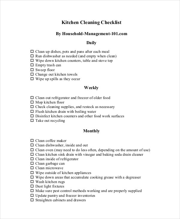 commercial kitchen cleaning checklist