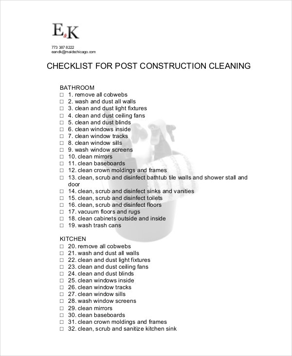 download post construction cleaning checklist