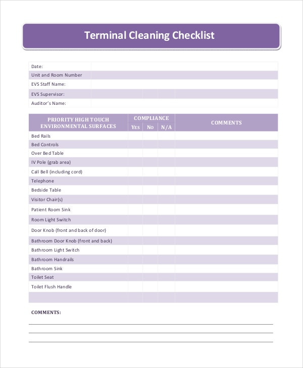 terminal cleaning checklist