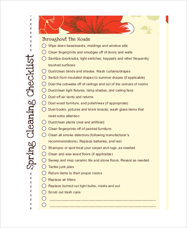 spring cleaning checklist in pdf
