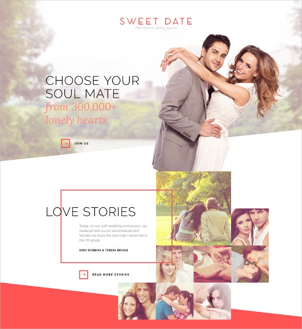 Dating Bootstrap Website Template $75