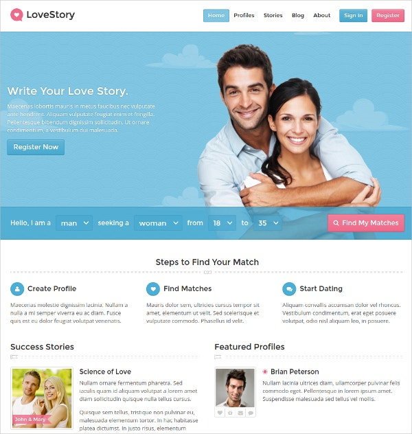 Dating Facebook WordPress Website Theme $59
