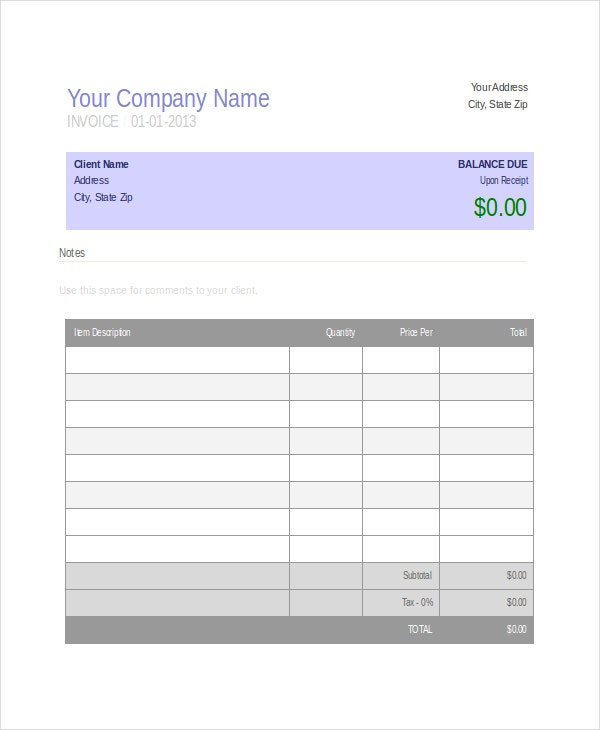 Company Invoice Template Free Word Excel PDF Document - Free template for invoices