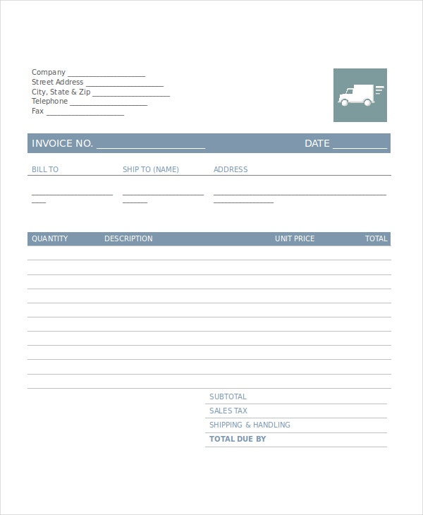 Company Invoice Template Free Word Excel PDF Document - Trucking billing invoice