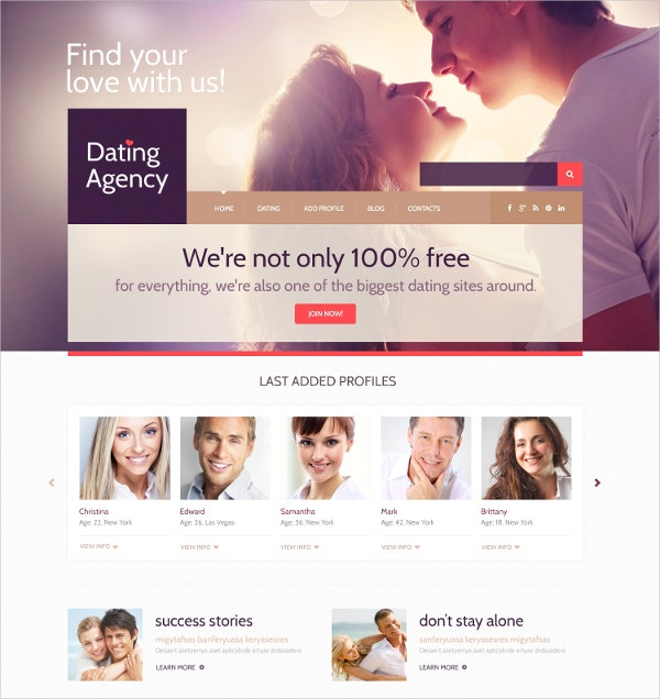 Dating WordPress Website Theme $75