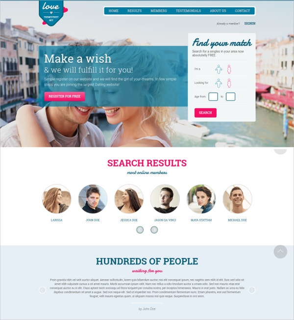 matchmaking website template