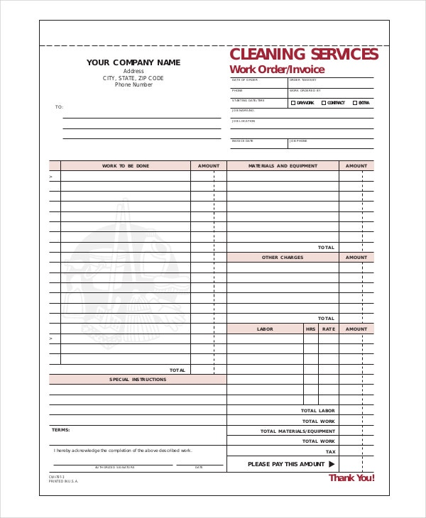 Cleaning Invoice Template Free Word PDF Documents Download - Fillable invoice template free for service business