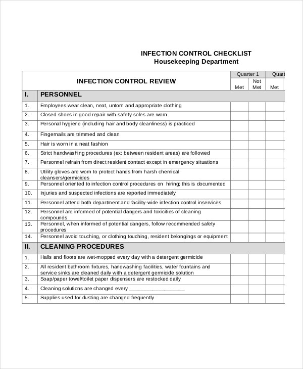 infection control cleaning checklist