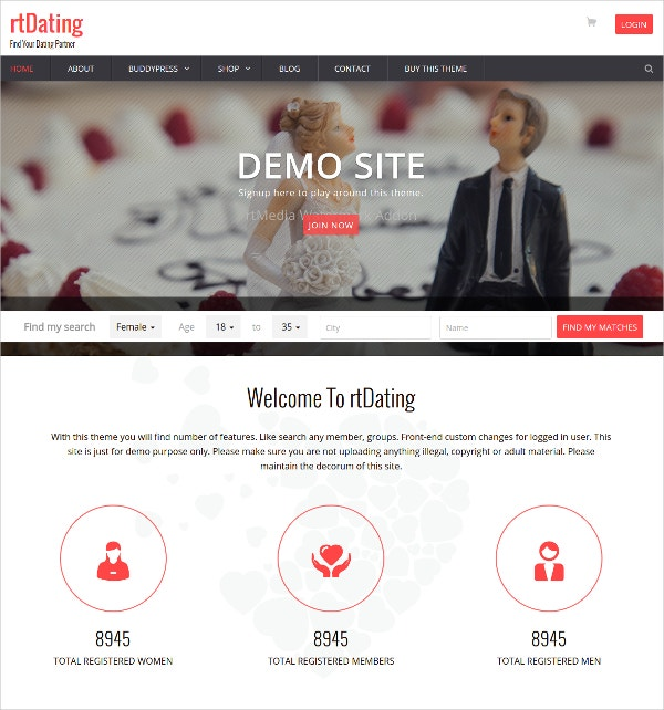 Dating Responsive HTML Website Template $99