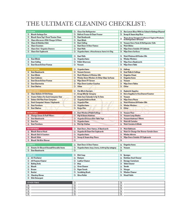 Cleaning Checklist   Free Word Pdf Psd Documents Download
